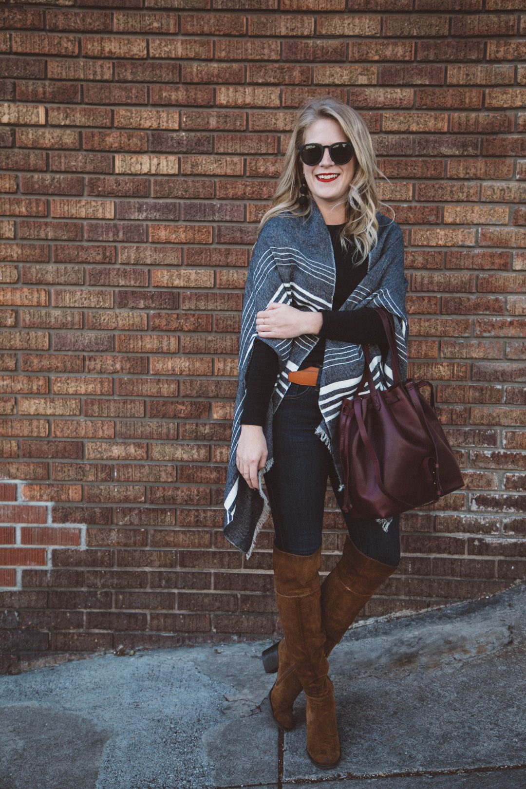 J. Crew Wrap with Steve Madden over the knee boots and a Madewell bucket bag.